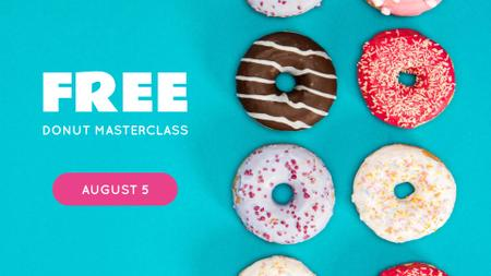 Sweet glazed Donuts Masterclass FB event cover Design Template