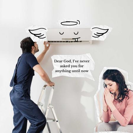 Plantilla de diseño de Funny Illustration of Conditioner with Angel Wings Animated Post
