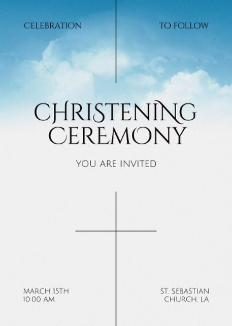 Christening Ceremony Announcement with Clouds in Sky Invitation – шаблон для дизайна