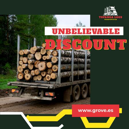 Transportation Services Offer Truck Delivering Logs Animated Post Modelo de Design