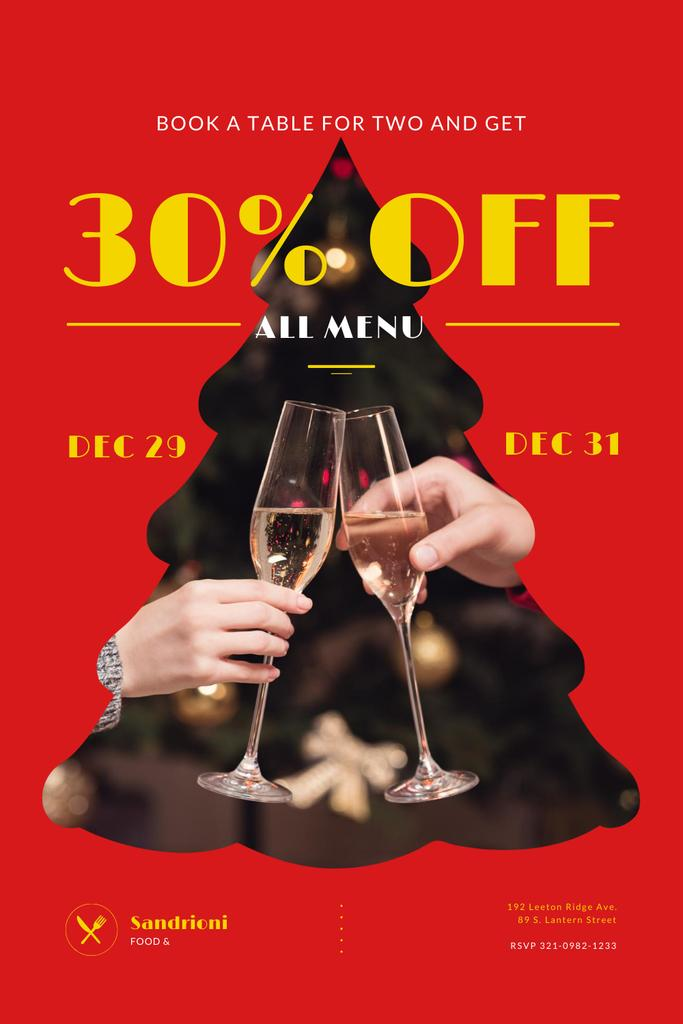 Platilla de diseño New Year Dinner Offer with People Toasting with Champagne Pinterest