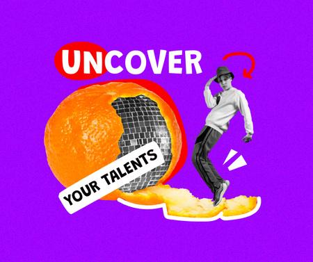 Funny Guy with Disco Ball in Orange Peel Facebook Modelo de Design