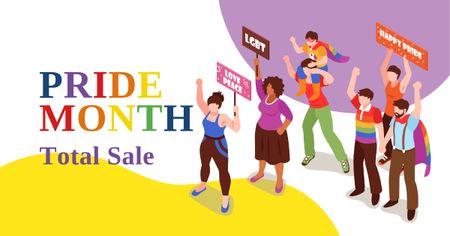 Ontwerpsjabloon van Facebook AD van Pride Month Sale with People at Demonstration