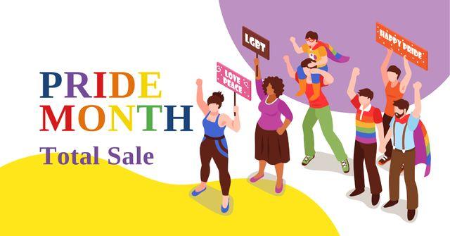 Modèle de visuel Pride Month Sale with People at Demonstration - Facebook AD