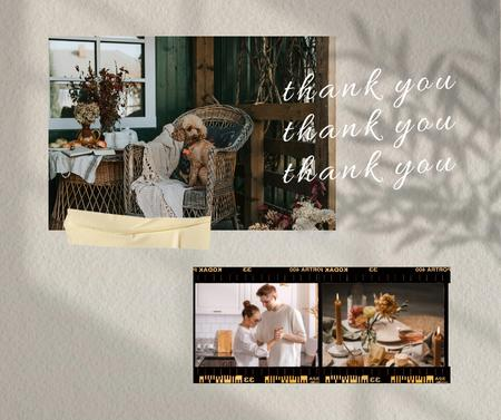 Thanksgiving Holiday Greeting with Happy Couple and Cozy Home Facebook Design Template