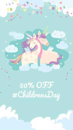 Ontwerpsjabloon van Instagram Story van Children's Day Discount Offer with Cute Unicorns