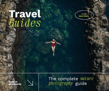 Travel Inspiration with Woman swimming in Lagoon Facebook Design Template