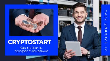Man with Tablet and Crypto Coins Youtube Thumbnail – шаблон для дизайна