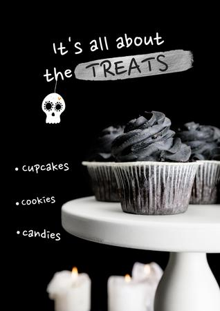 Halloween Treats Offer with Spooky Skull Poster – шаблон для дизайну