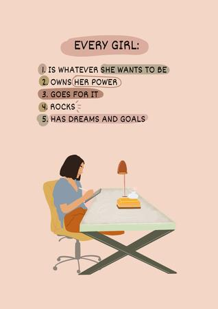 Designvorlage Girl Power Inspiration with Woman on Workplace für Poster