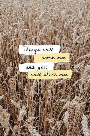 Inspirational Citation with Wheat Field Pinterest Design Template