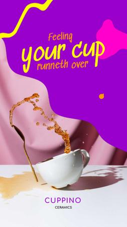 Platilla de diseño Ceramic promotion with Cup and Coffee splash Instagram Video Story