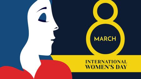 Women's Day Announcement with Creative Female Portrait FB event cover Modelo de Design