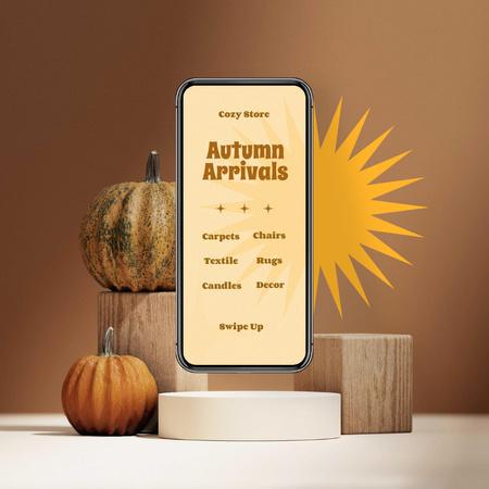 Autumn Sale Announcement with Pumpkins Instagram Design Template