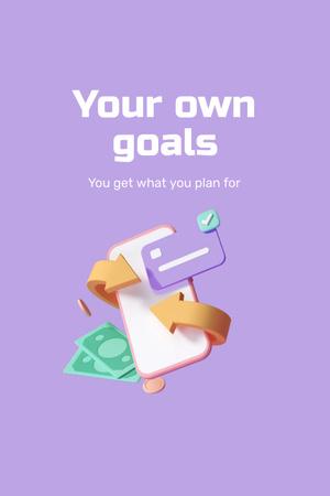 Modèle de visuel Business Goals with Money and Phone - Pinterest
