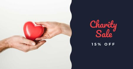 Ontwerpsjabloon van Facebook AD van Charity Sale with hands holding Heart