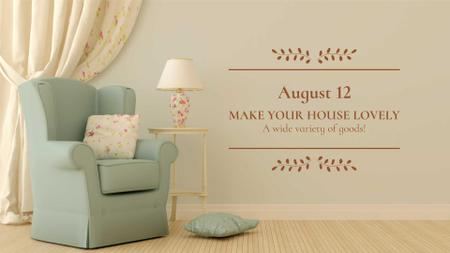 Armchair in cozy room FB event cover Tasarım Şablonu