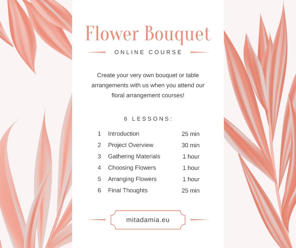 Florist Courses Promotion Pink leaves Frame —デザインを作成する