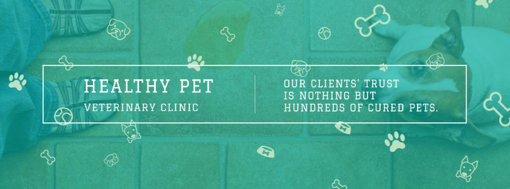 Healthy pet veterinary clinic Facebook cover Modelo de Design