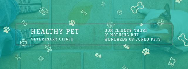 Healthy pet veterinary clinic Facebook cover Tasarım Şablonu