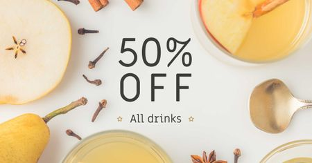 Offer with White Mulled Wine Facebook AD Design Template