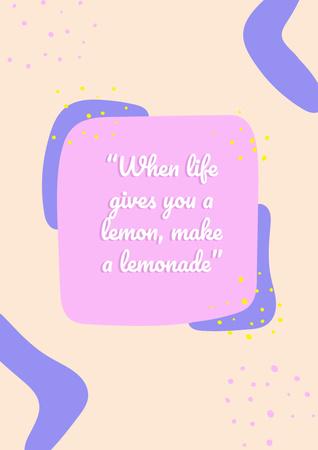 Lemons Quote on pink Poster – шаблон для дизайну