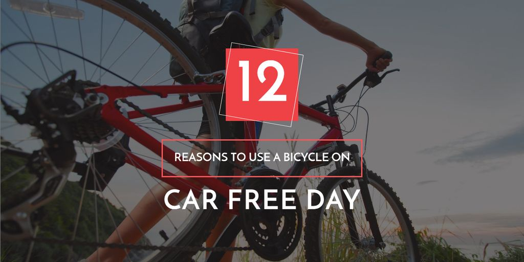 car free day poster with bicycle Image Design Template