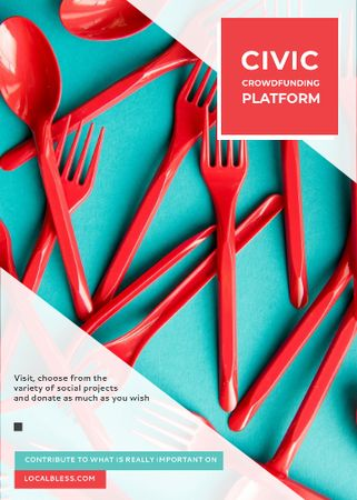 Crowdfunding Platform Red Plastic Tableware Flayer – шаблон для дизайна