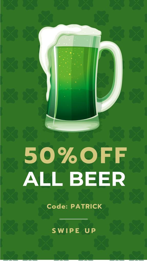 Saint Patrick's Day mug with beer Instagram Story Tasarım Şablonu