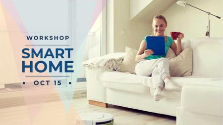 Designvorlage Woman using Smart Home Application für FB event cover