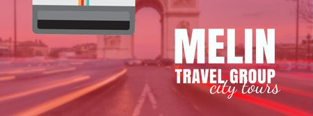 Tour Invitation with Paris Arc de Triomphe Facebook Video cover Design Template