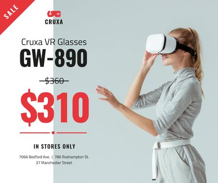 Template di design Gadgets Sale Woman Using VR Glasses Facebook