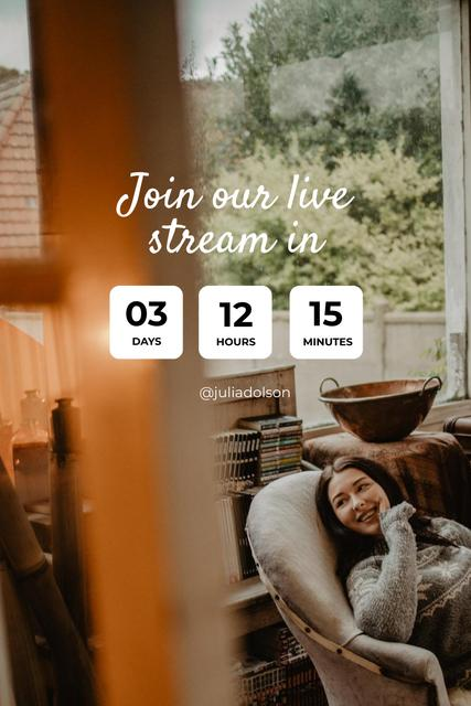 Live Stream Ad with Woman in Cozy Armchair Pinterest Design Template