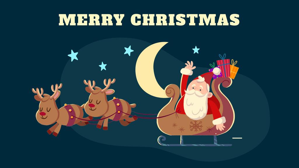 Christmas Greeting Santa Riding in Sleigh — Створити дизайн
