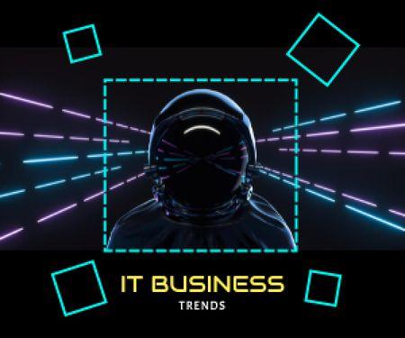 Template di design Astronaut in Neon Cyberspace Medium Rectangle