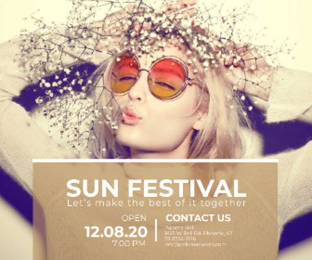 Ontwerpsjabloon van Large Rectangle van Sun festival advertisement banner