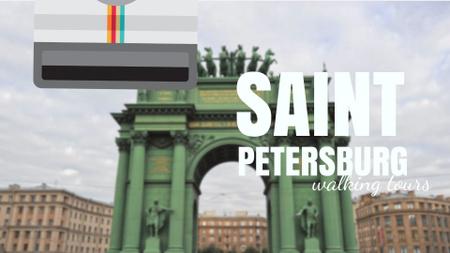 Saint Petersburg Narva Triumphal Arch Travelling Spot Full HD video Tasarım Şablonu