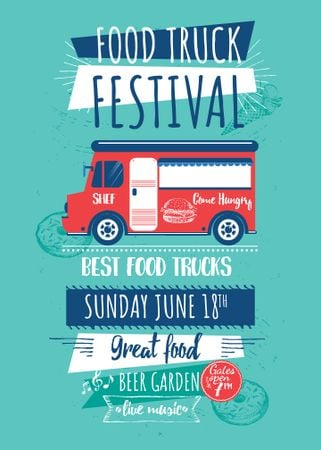 Food Truck festival announcement with Delivery Van Invitation – шаблон для дизайна