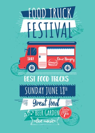 Food Truck festival announcement with Delivery Van Invitation Tasarım Şablonu