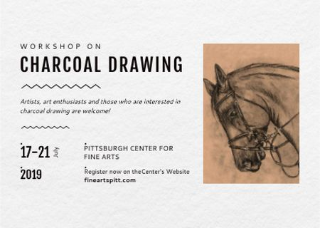 Drawing Workshop Announcement with Horse Image Postcard – шаблон для дизайну