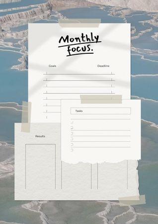 Ontwerpsjabloon van Schedule Planner van Monthly Planning with Nature Landscape