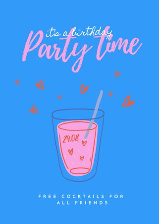Party Announcement with Cute Cocktail Illustration Invitation Modelo de Design