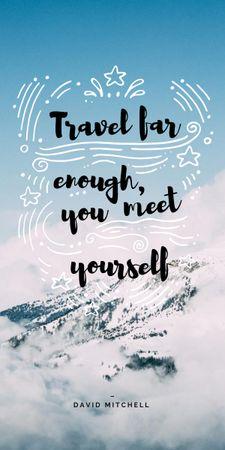 Designvorlage Travel Quote on Snowy Mountains View für Graphic