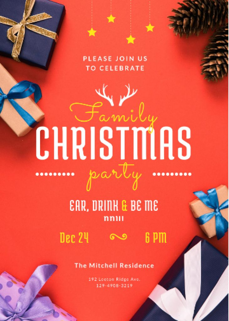 Christmas Party Invitation Gifts with Bows in Red — Create a Design