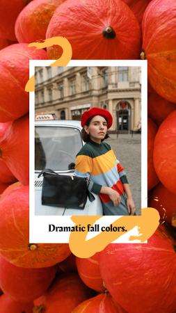 Autumn Inspiration with Stylish Girl in City Instagram Story – шаблон для дизайна