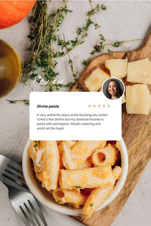 Template di design Pasta dish with Cheese and herbs Pinterest