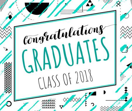 Graduates congratulation on geometric pattern Facebookデザインテンプレート