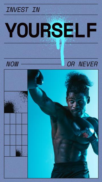 Manhood Inspiration with Strong Muscular Boxer Instagram Story – шаблон для дизайна