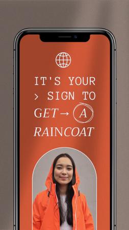 Woman in Bright Raincoat on Phone Screen Instagram Video Story Modelo de Design
