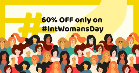 Women's Day Offer with Crowd of Women Facebook ADデザインテンプレート